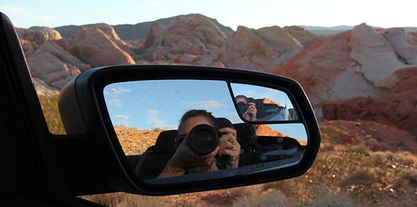Foto i bakspegeln på en Roadtrip i USA
